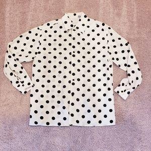 VTG Moda Int'l Polka Dot Silk Button Up Size S